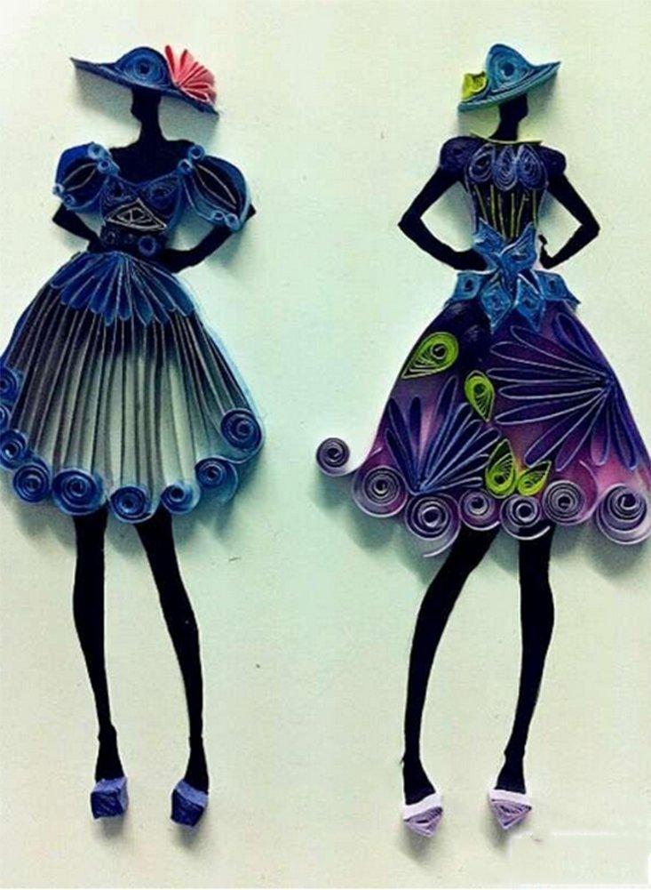 Kanggest 720PSC strisce quilling filigrana strisce di carta per artigianato fai da te e serie Paper Art nero