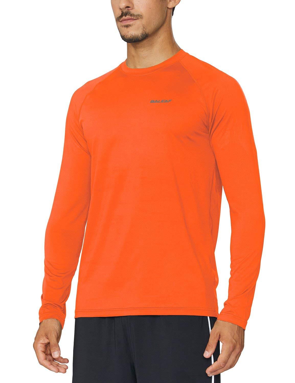 Baleaf Men's Cool Running Workout Long Sleeve T-Shirt Fluorescent Orange MT by Baleaf