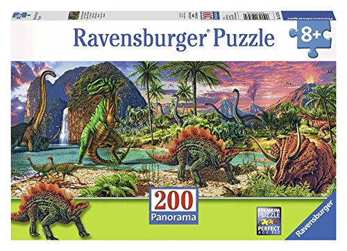 Ravensburger in The Land of The Dinosaurs Panorama 200Piece Jigsaw Puzzle for Kids – Everypiece is Unique, Piece Fit Together Perfectly