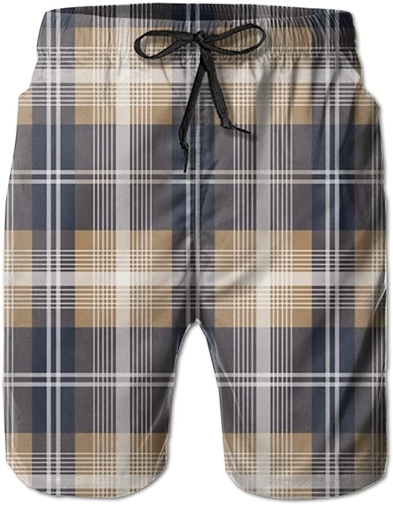 Jinyimingpi Beach Shorts Scottish Plaid Pattern Mens Quick Dry Classical Swim Trunk Beach Pants Board Shorts