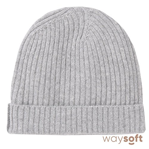 WaySoft Pure 100% Cashmere Beanie For Women In a Gift Box by, Extra Warm Soft Women Beanie Hat, Bring Warm and Luxury To Your Loved Ones, Perfect Holiday Gift (Classic Grey)