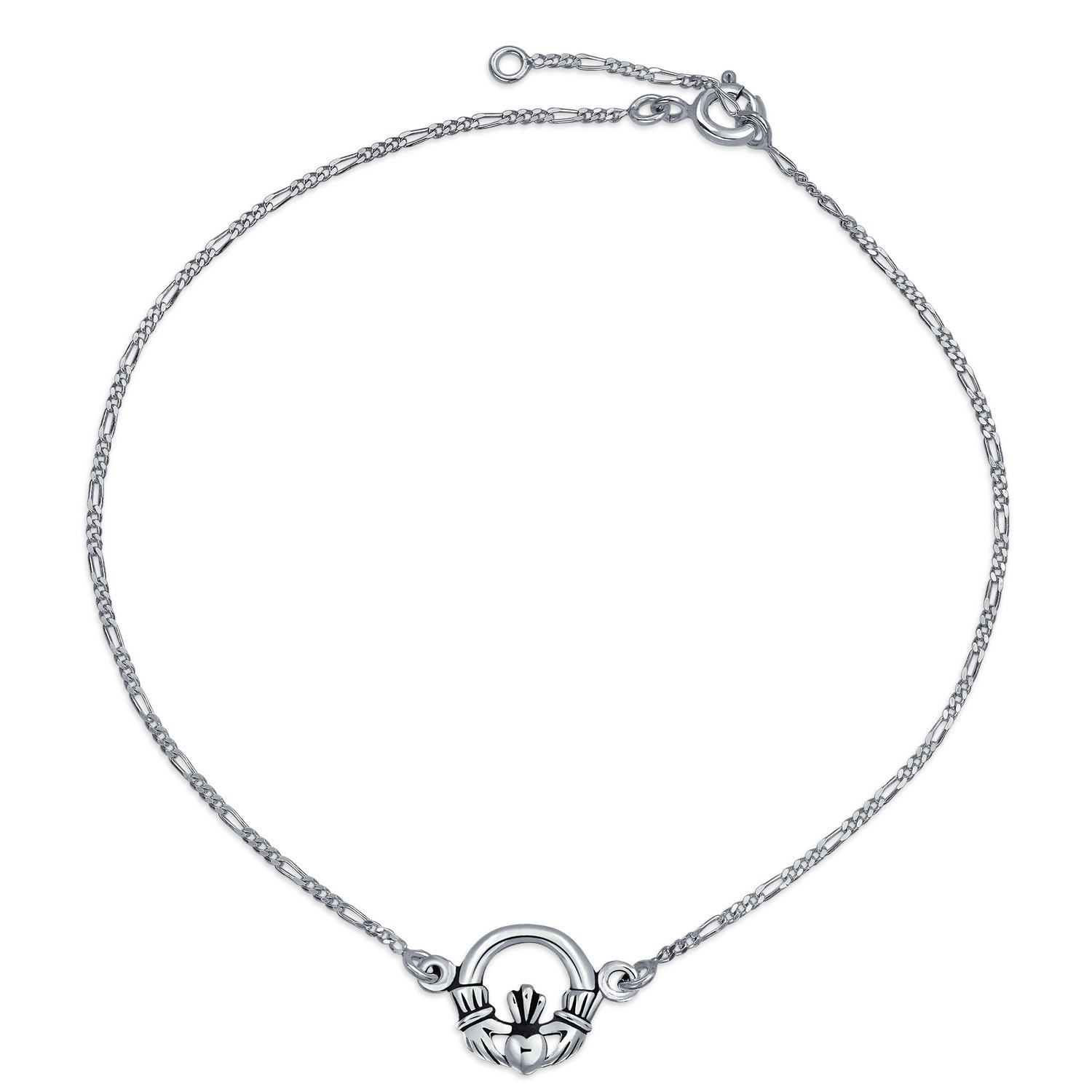 Bling Jewelry Figaro Chain Celtic Claddagh Heart Sterling Silver Anklet PS-TBG726