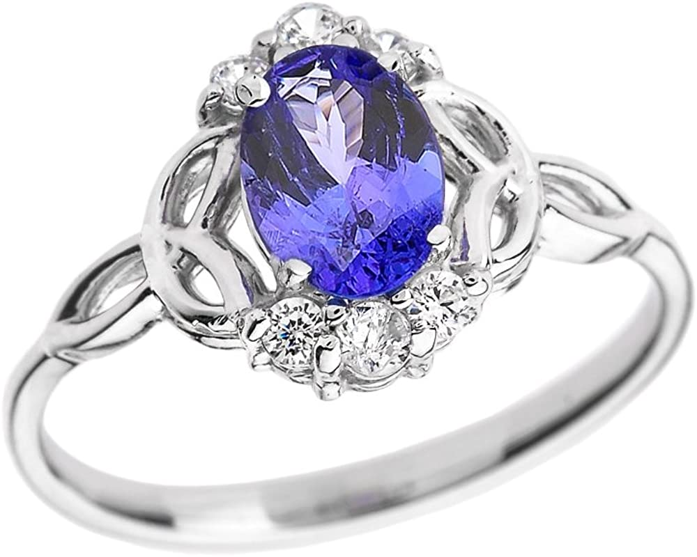 1.50Ct Oval Cut Blue Tanzanite Engagement Wedding Ring 14K White Gold Over