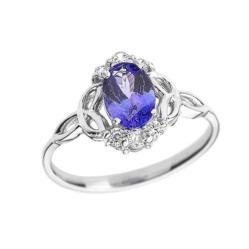 f8747afbc7e Tanzanite and Diamond 10k White Gold Trinity Knot Proposal Ring(Size 4)