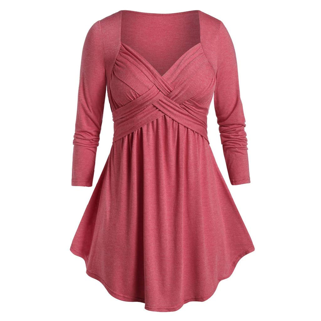 Padaleks Womens Tops Plus Size Sweetheart Collar Space Tunic Flare T Shirt Loose Shirt Sweatshirt Pullover Blouse
