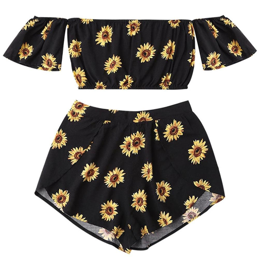 54a41b5191 TOTOD Casual Two Piece Set Women Off Shoulder Sunflower Chiffon Printed  Beachwear Crop Tops at Amazon Women s Clothing store