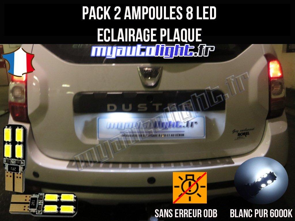 Pack ampoules led é clairage plaque pour Dacia Duster MyAutoLight