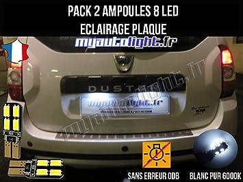 Pack Bombillas LED iluminación placa para Dacia Duster: Amazon.es: Coche y moto