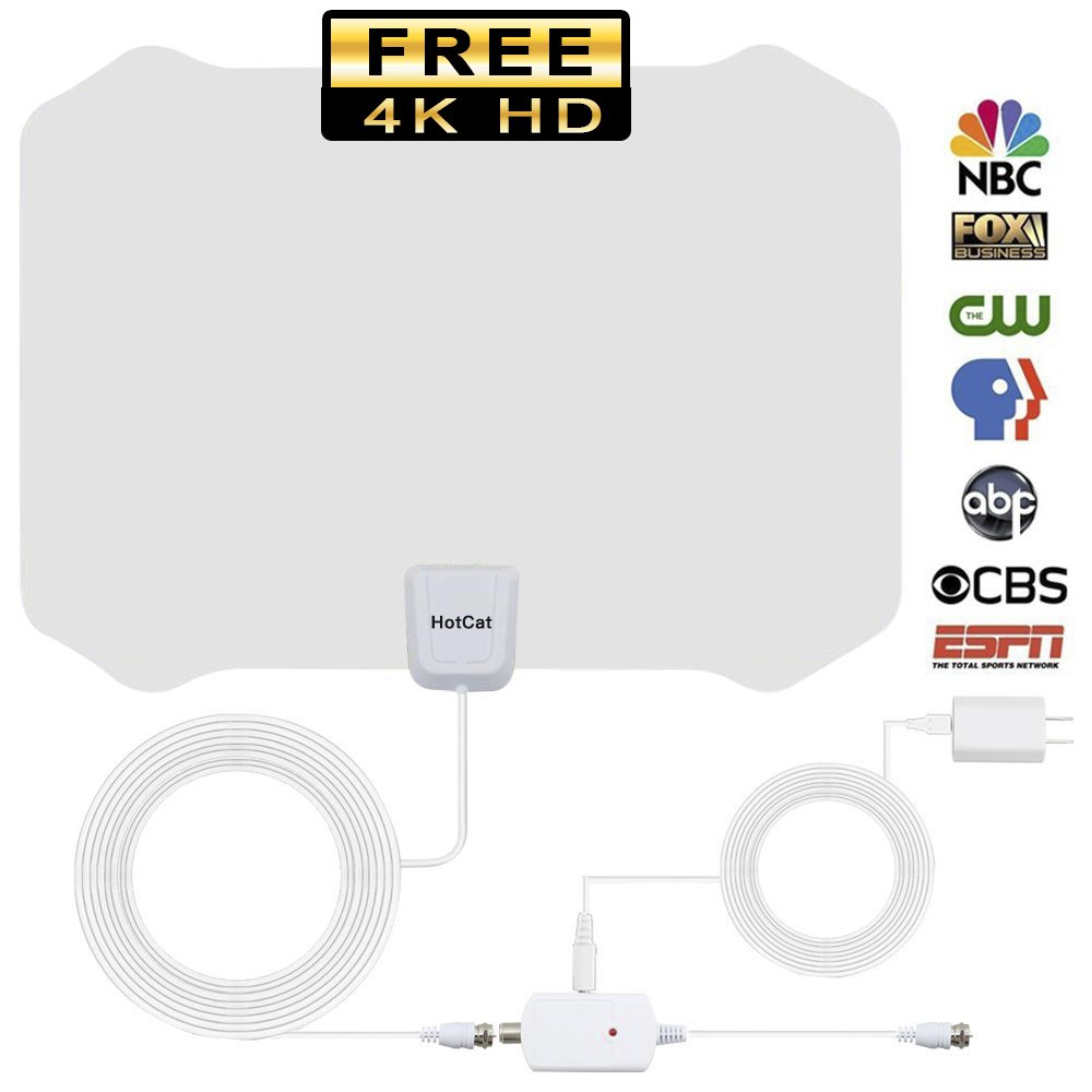 TV Antenna,2018 NEWEST ! Indoor Amplified Digital HDTV Antenna 60-80 Mile Range with Detachable Amplifier Signal Booster and 16.5 Feet Coaxial Cable For 4K 1080P 2160P Free TV (White)