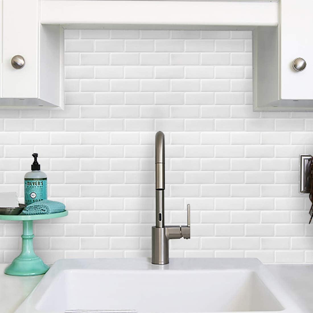 Bianco-4 Pezzi Adesivi per Piastrelle Piastrelle Adesivi Muro Decorazione Murale per Cucina//Bagno 11x 10 FAM STICKTILES 3D Mattonelle Sticker