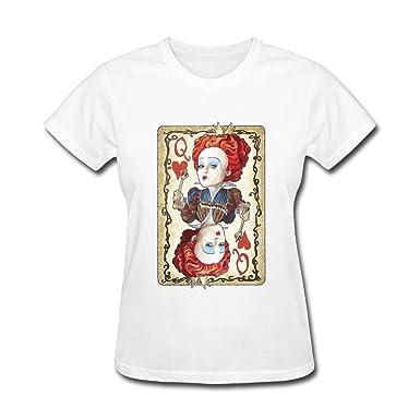 16042b475 Amazon.com: Big-Fish Women's Queen of Hearts T-shirt White: Clothing