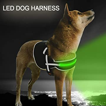 LED Dog Harness No Pull Reflective Rechargeable 4 Colors & 4 Size Let Your Dog Visible