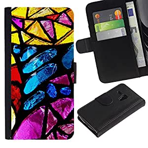 "Samsung Galaxy S3 MINI / i8190 (Not For Galaxy S3) , la tarjeta de Crédito Slots PU Funda de cuero Monedero caso cubierta de piel ("" Stained Glass Yellow Blue Sun Colorful"")"