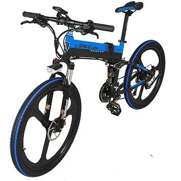 LANKELEISI - Bicicleta Eléctrica Plegable (26 Pulgadas, 240 W, 48 V, 10