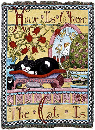 Pure Country Weavers - Home is Where The Cat is Cute Cat Woven Tapestry Blanket with Fringe Cotton USA 54X74