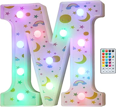 Colorful LED Marquee Letter Lights, 18 Colors Changing Light Up Rainbow Moon Star Cloud Decorative Letter Sign with Remote, Girl's Gifts Birthday Party Kid's Room Children Bedroom Decor -Letter M