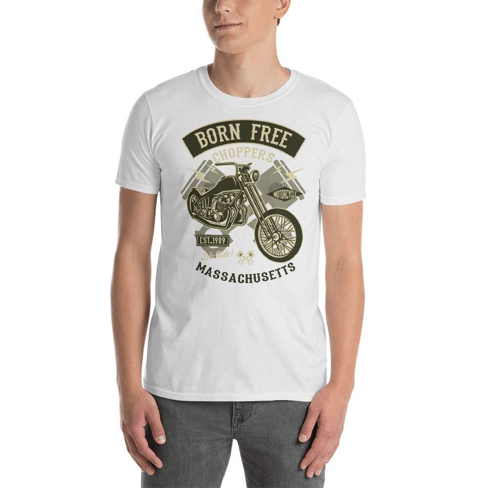 Massachusetts Born Free Motorcycle Chopper Club Custom Unique Funny Unisex Tee Shirt