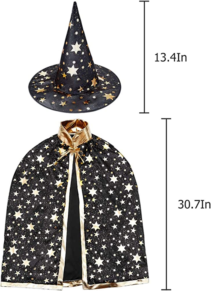 Halloween Kids Costumes,Witch Cape for 3-12 Years Children,Halloween Props Newland Wizard Cape with Hat