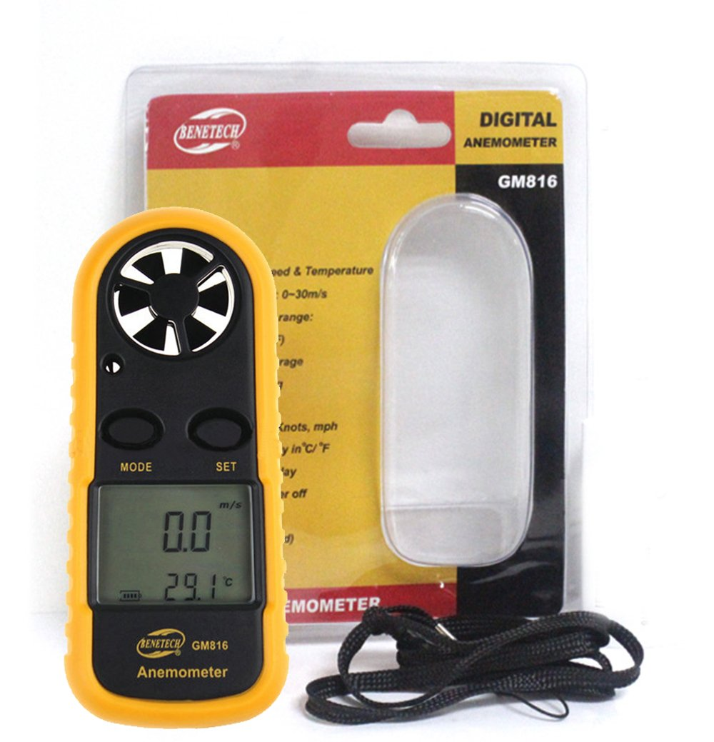 GM816 Portable Handheld Anemometer Digital LCD Wind Speed Meter Gauge Air Flow Velocity Measurement Thermometer for Windsurfing Kite Flying Sailing Surfing Fishing Color Yellow VTSYIQI