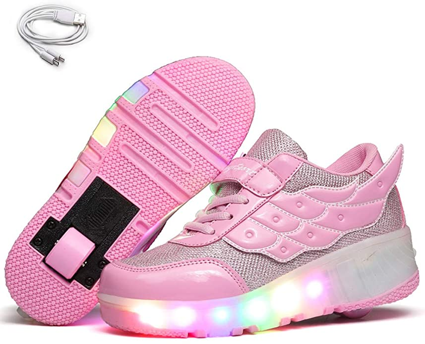 Chic Sources Girls Light up Roller Shoes with Two Wheels Skate Sneakers