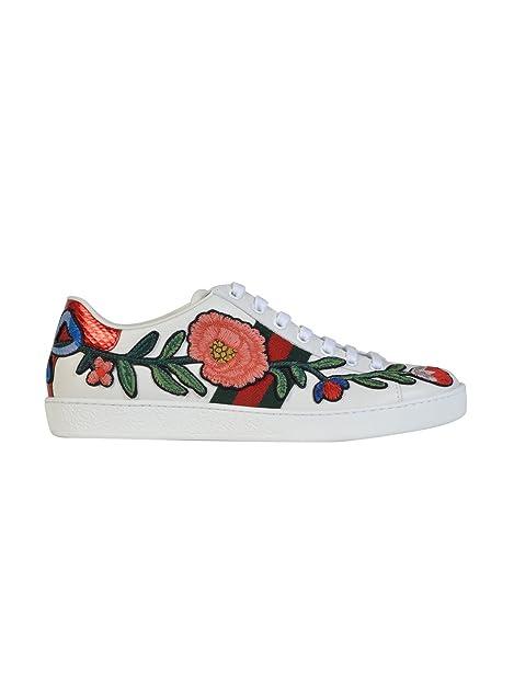 Gucci Mujer 431917A38G09064 Blanco Cuero Zapatillas: Amazon.es: Zapatos y complementos