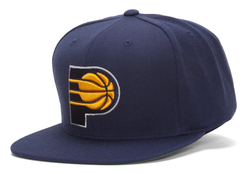 innovative design 0255f 338bb Amazon.com   Indiana Pacers NBA Mitchell   Ness Team Logo Solid Wool  Adjustable Snapback Hat (Navy)   Clothing