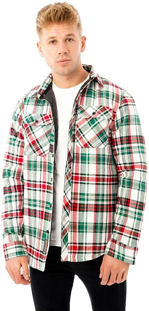 River Road Hombre Caqueta - Camisa a Cuadros Franela Rica en Algodón Manga Larga Ajuste Regular (Medium, Green/Red/White): Amazon.es: Ropa y accesorios