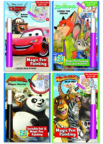 Disney and Dreamworks Characters Magic Pen Painting Activity Books, Set for Boys with ZIPPER BAG. Includes: Zootopia, Kung Fu Panda, Madagascar, Cars Invisible Ink & Magic Pen Coloring books - Magic Pen Painting