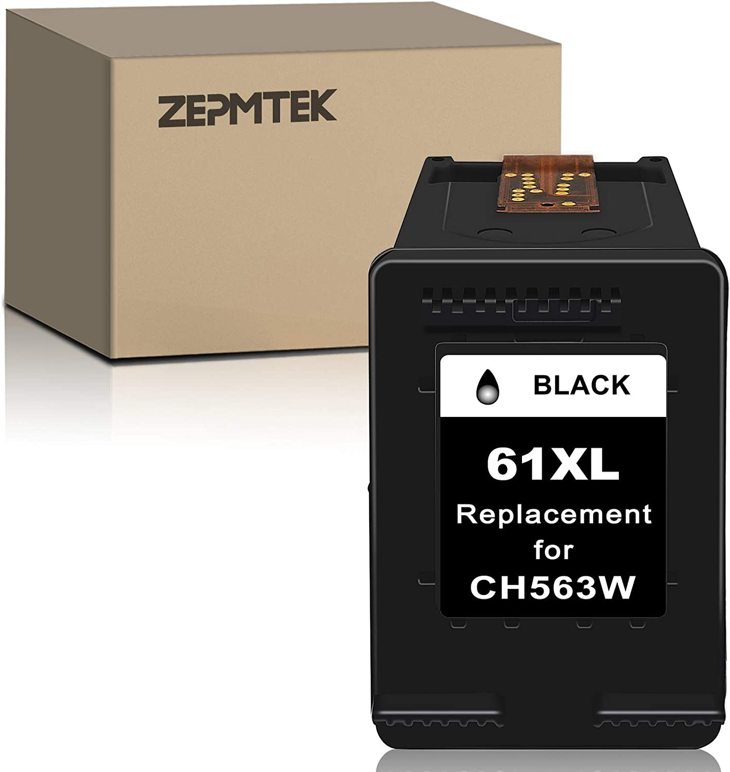 ZepmTek Remanufactured Ink Cartridge Replacement for HP 61XL 61 XL Used with Envy 4500 4502 5530 DeskJet 2512 1512 2542 2540 2544 3000 3052a 1055 3051a 2548 OfficeJet 4630 4632 Printer (1 Black)