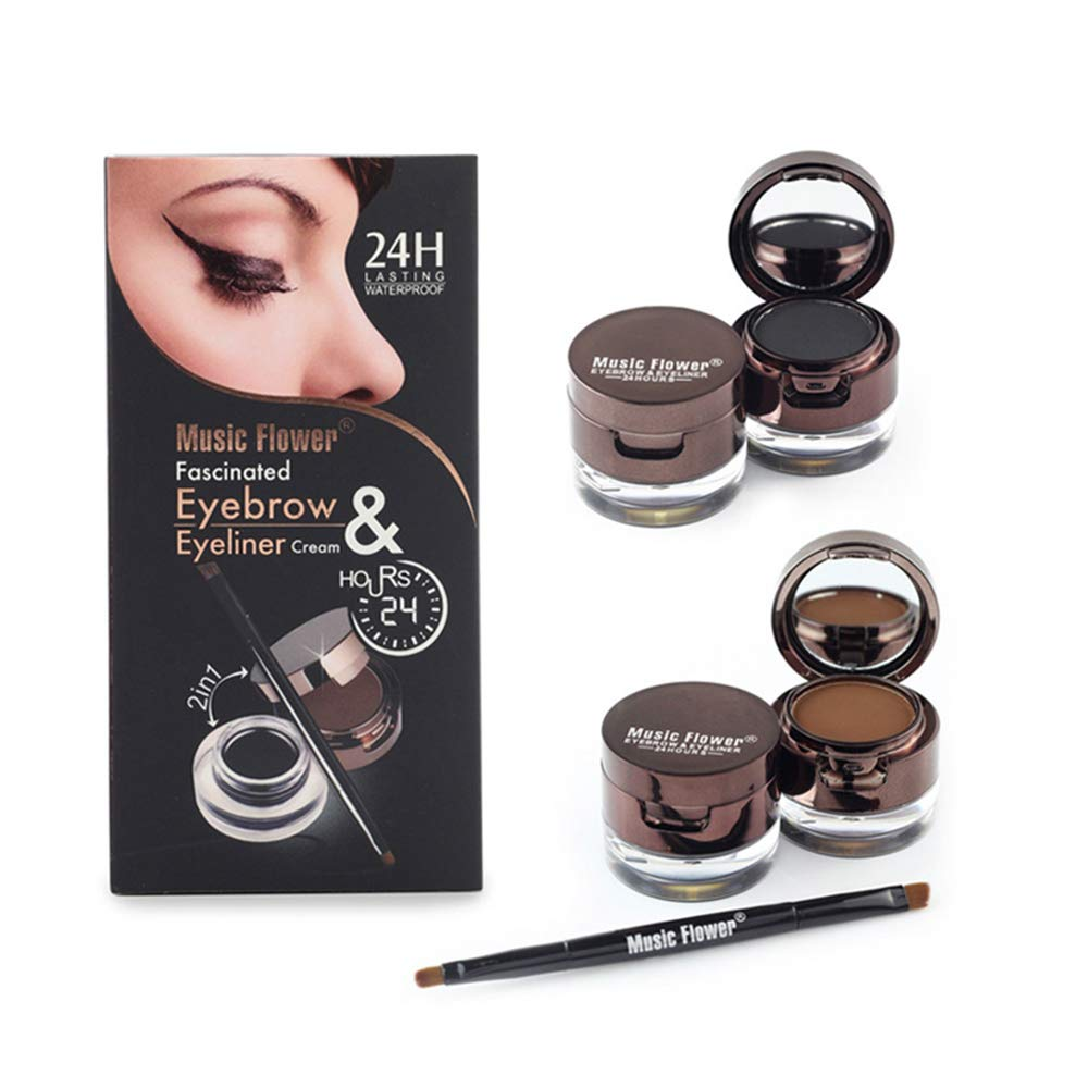 Music Flower Eyeliner Gel Eyebrow Powder Waterproof Brown and Black with Brush Mirror Kit