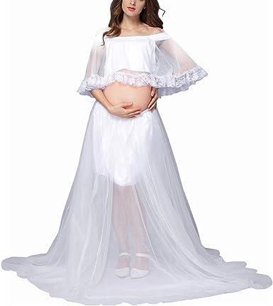 SAMBER Falda de Embarazada para fotografía 3 PCS Falda Larga con ...