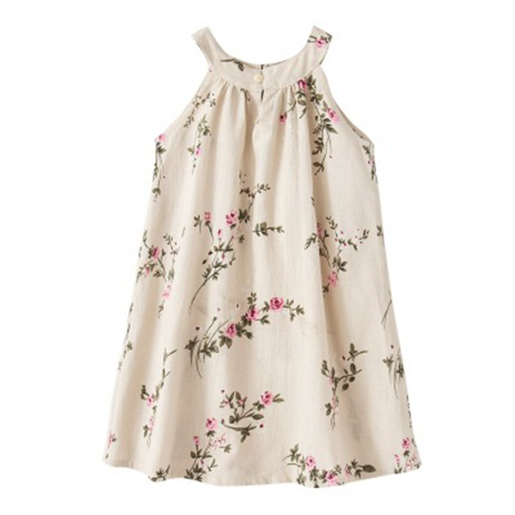 May zhang Children Sleeveless Cotton Dress, Girls Countryside Overalls Flower Print for Summer (Beige-1705, 10/12Y)