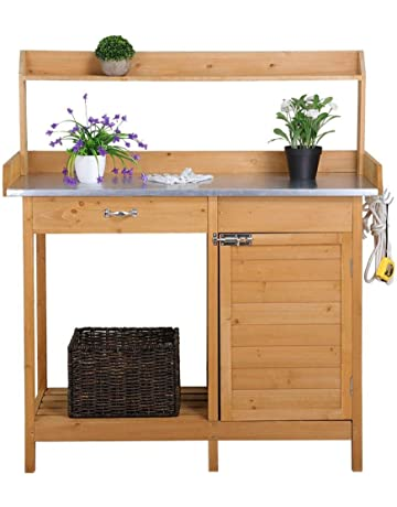 Yaheetech Outdoor Garden Potting Bench Metal Tabletop W/Cabinet Drawer Open  Shelf Natural Wood