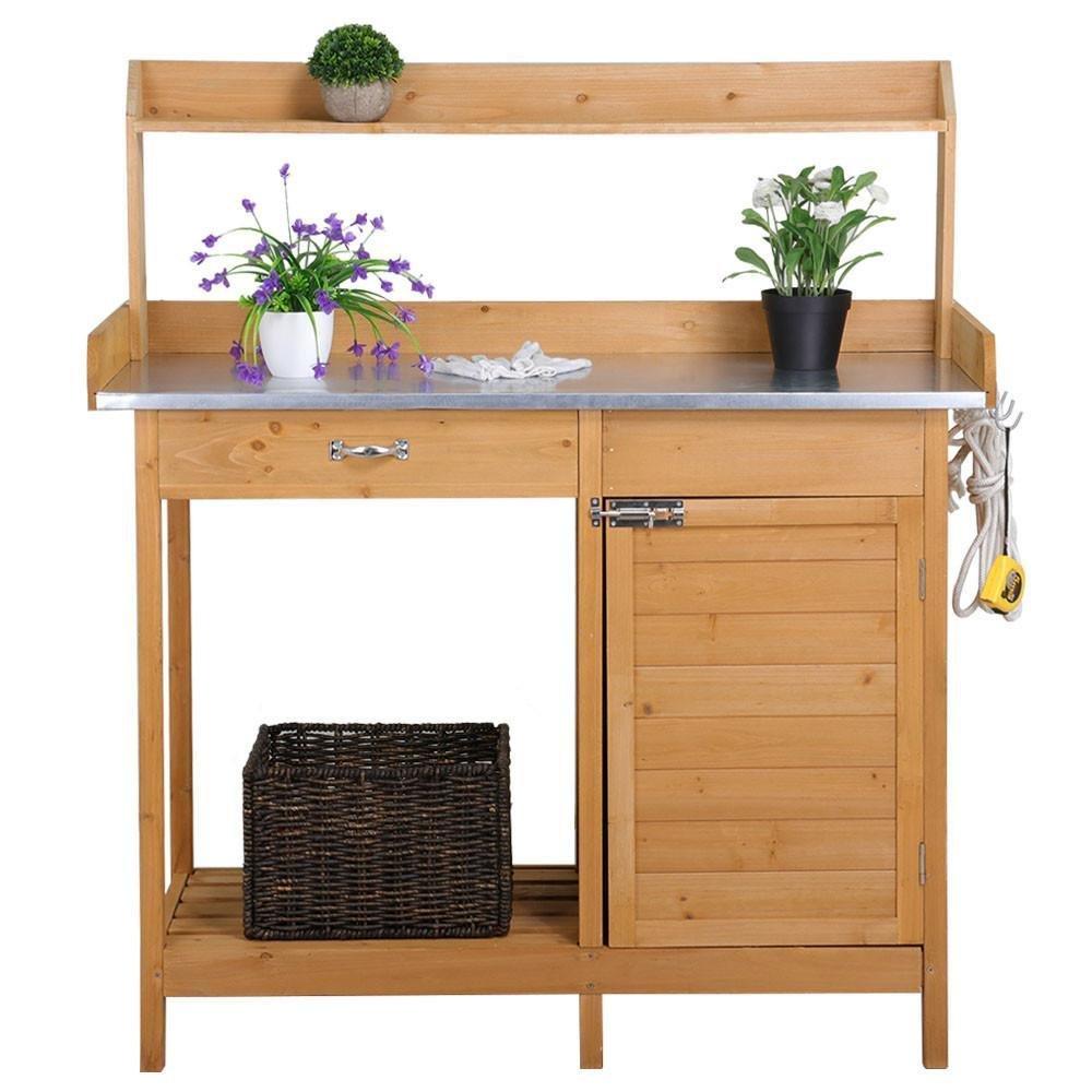 Topeakmart Outdoor Garden Potting Bench Potting Tabletop with Cabinet Drawer Open Shelf Work Station