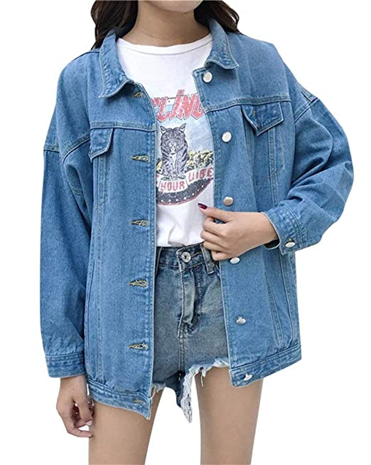 buy popular cd884 dc0ed Giubotto Donna Casual Fashion Maniche Lunghe Giacche Jeans ...