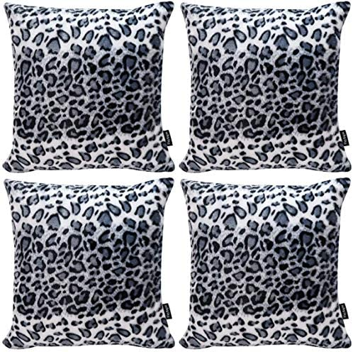 Faylapa 4 Pack Soft Plush Leopard Print Pillow Covers Animal Theme Print Faux Fur Decorative Throw Pillowcase Home Decor Cushion Cover 18 18 Inches 45 45cm Case Only Home Kitchen