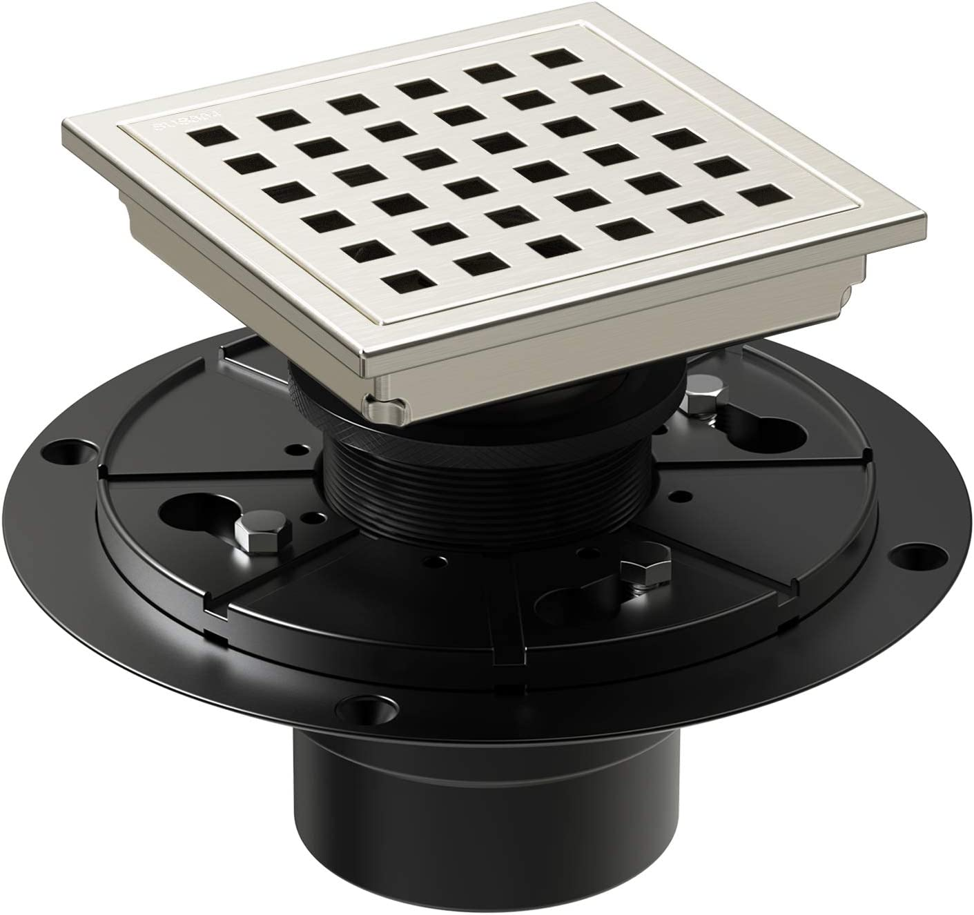 WEBANG 4 Inch Square Shower Floor Drain With Flange,Quadrato Pattern Grate Removable,Food-grade SUS 304 Stainless Steel,WATERMARK&CUPC Certified,Brushed Nickel