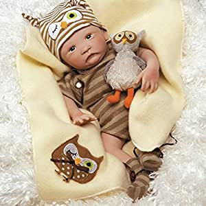 Paradise Galleries Hoot! Hoot! Baby Doll That Looks Like a Real Baby, 16 inch Vinyl, Preemie Reborn Boy, Safety Tested Age Kids 3+, 6-Piece Gift Set