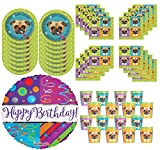 Pug Puppy Themed Birthday Party Bundle for 16 + Happy Birthday Balloon. This party supply bundle includes: 16 Pug 9 Inch Themed Plates. 16 Pug Themed Luncheon Napkins. 16 Pug Themed Cups. Bonus Happy Birthday Foil Balloon