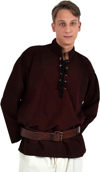 Traje Medieval - Camisa Hombre - Mangas anchas - Color granate - S: Amazon.es: Ropa y accesorios