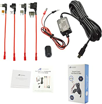 Dash Camera Hard Wire Kit Right Angle Mini USB Dash Cam 10 Foot Hardwire and Fuse Kit for Dash Camera Power Supply Car Charger GPS Car DVR Power Box Right Angle Mini USB And Fuse Kit