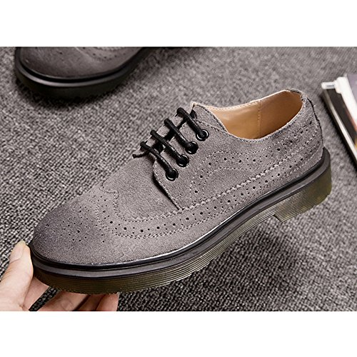 GIY Womens Lace-Up Low Chunky Heel Casual Oxford Shoes Vintage Wing Tip Carving Brogue Shoes Grey NzukqxAkB