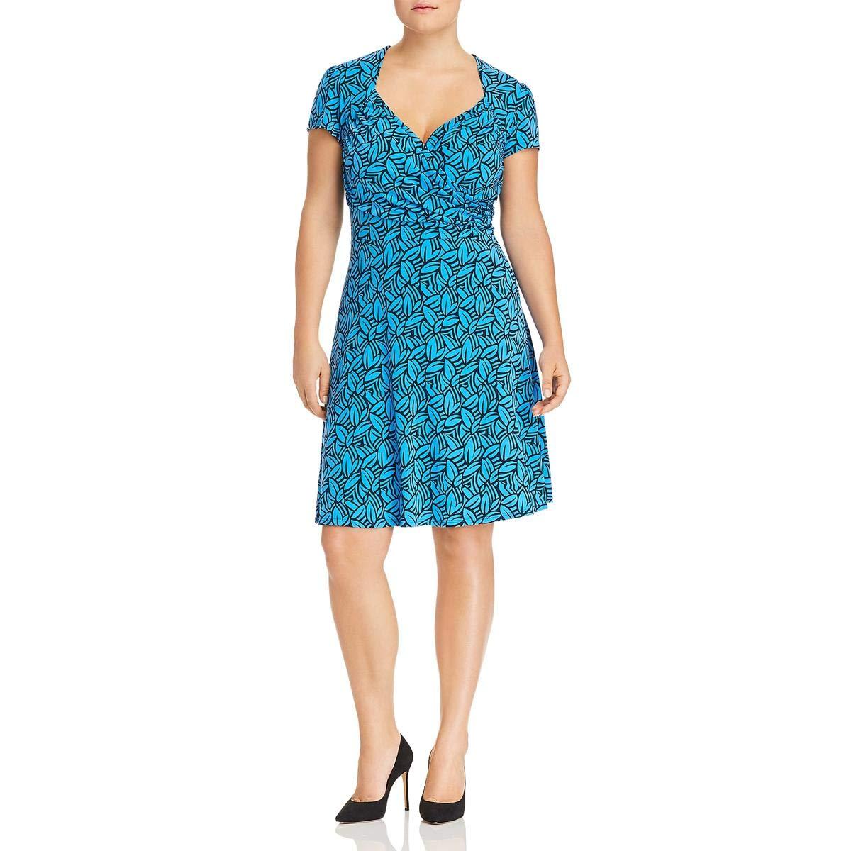 bluee Leota Womens Plus Sweetheart Short Sleeves Mini Party Dress