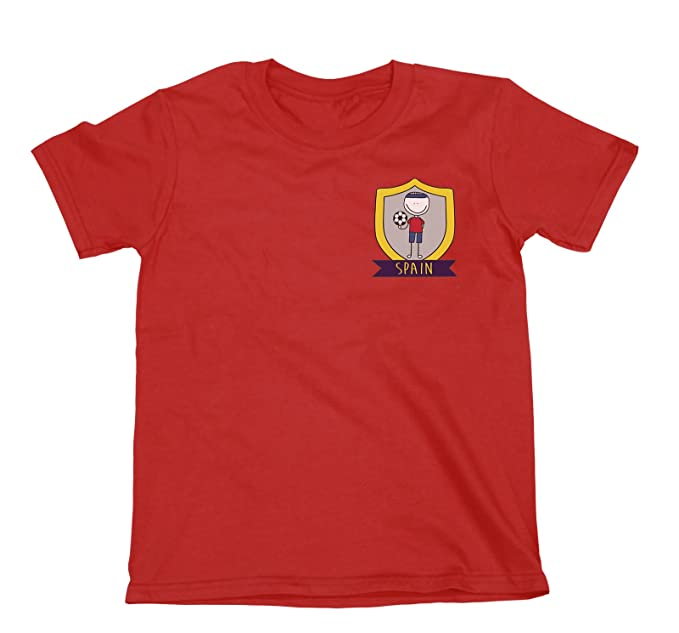 Niños O Niñas Spain Fútbol Doodle Team Badge Camiseta Copa Mundial 2018 Kids Fan Sports: Amazon.es: Ropa y accesorios
