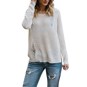 ❤ Modaworld Moda Blusa de Manga Larga con Botones de Mujer Agujero Que Hace Punto Camiseta Blusa Tops suéter Otoño Invierno Pull-Over Outwear niña ...