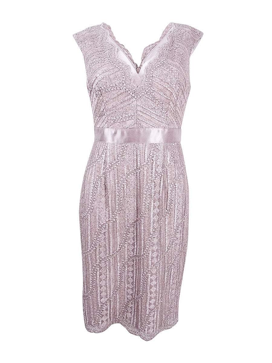 Adrianna Papell Women's Cap Sleeve Lace Cocktail Dress Silver Quartz 2