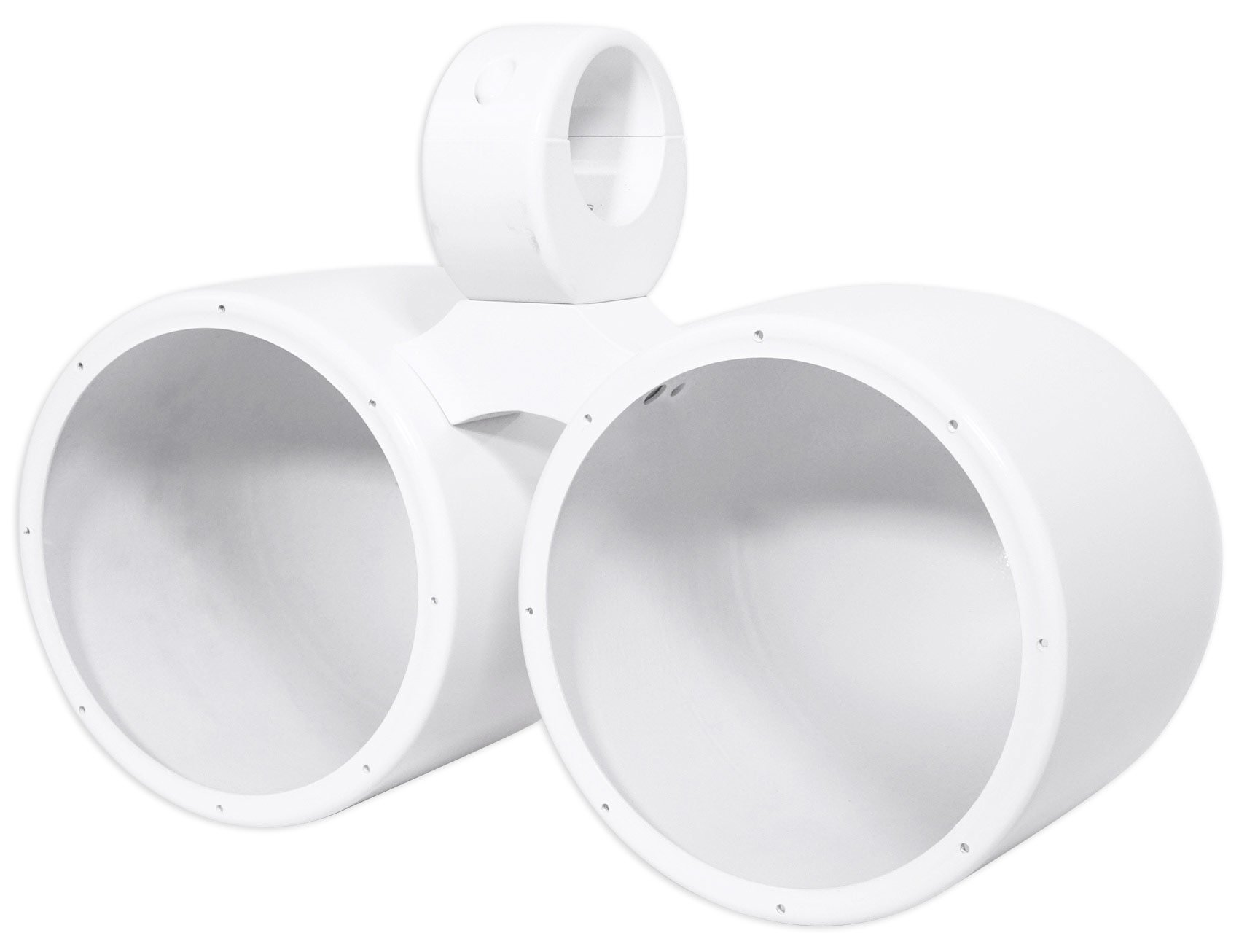 Dual Metal Wakeboard Pods For Kicker, Pyle, Fusion, MTX Speakers-White by Rockville