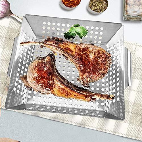 Best Goods Panier à barbecue en 100 % acier inoxydable – Parfait pour les légumes grillés, le bol de barbecue convient à tous les types de barbecue.
