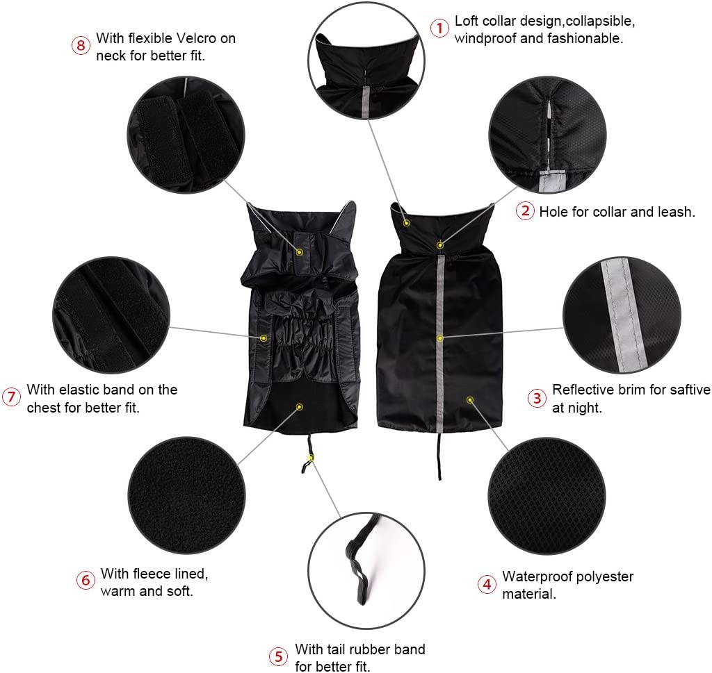 PETCEE Waterproof Dog Jacket Dog Winter Coat Dog Pet Vest for Cold Weather Dog Jacket for Medium Large Dogs with Lofty Collar-2 Layer (Black XL) : Kitchen & Dining