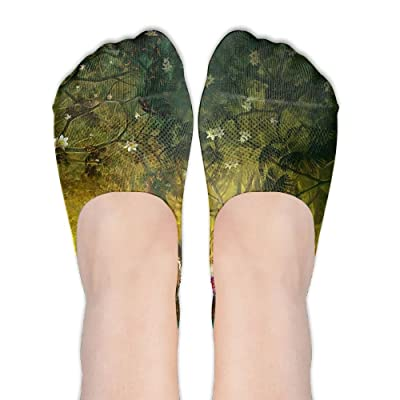 Artistic Tree Scenery Digital DIY Printed Pattern Casual Low Cut Socks No-show Liner Invisible Polyester Cotton Sock For Ladies (One Pair)